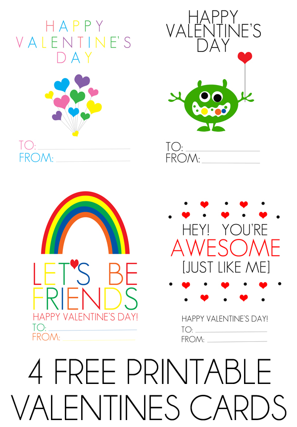 set of four free valentines day printable cards