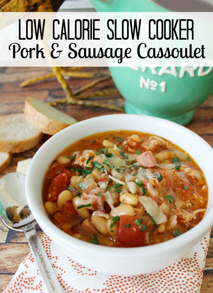easy Low Calorie pork and sausage cassoulet for the crock pot
