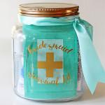 bridesmaid survival kit in a jar