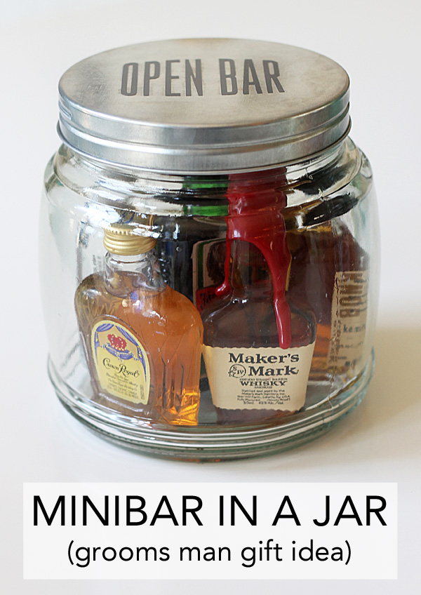 Minibar in a jar an easy gift idea for Homemade gifts in a jar for men