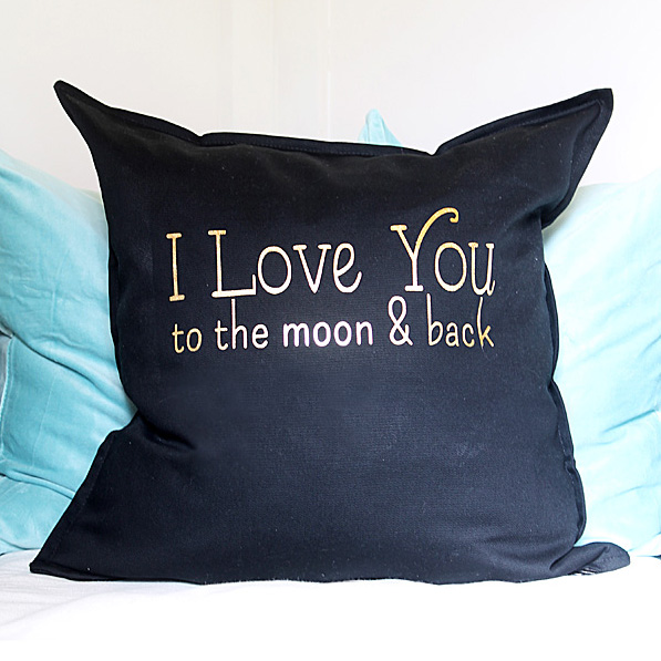 I Love You to the Moon and Back Pillow (with free graphic)