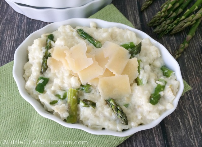 Delicious Slow Cooker Asiago and Asparagus Risotto recipe