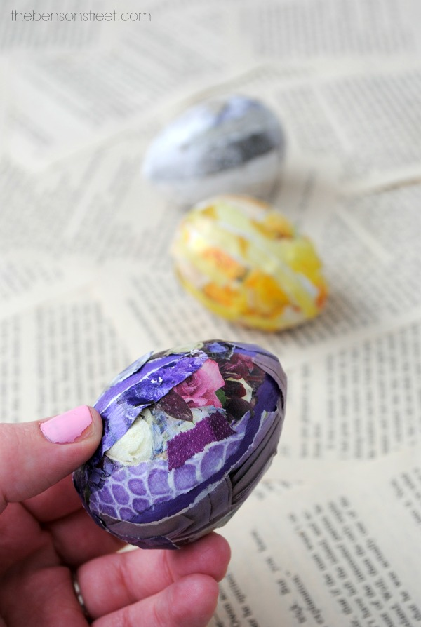 Easy and Fun Easter Idea: Decoupage Collage Easter eggs