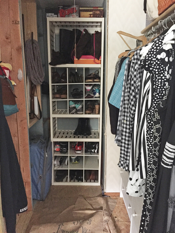 BEFORE PHOTO Cedar Safe Closet Makeover By The Shabby Creek Cottage