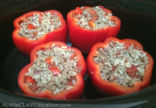 easy Crockpot Beef Taco Stuffed Bell Peppers