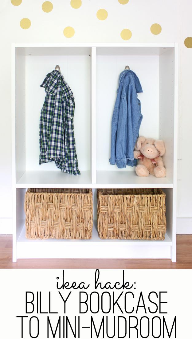 ikea hack billy bookcase to mini mudroom. Black Bedroom Furniture Sets. Home Design Ideas