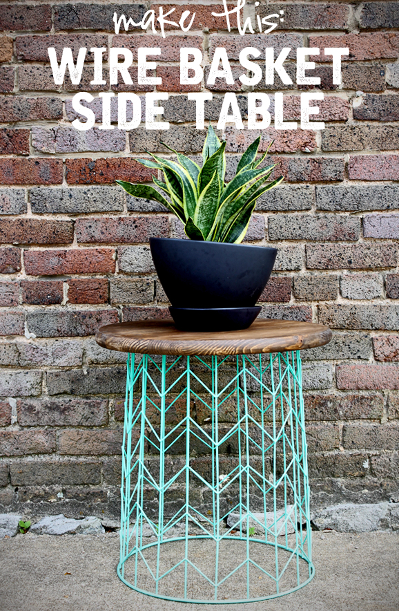 Side table from a wire basket a 20 minute diy idea for Outdoor decorating hacks