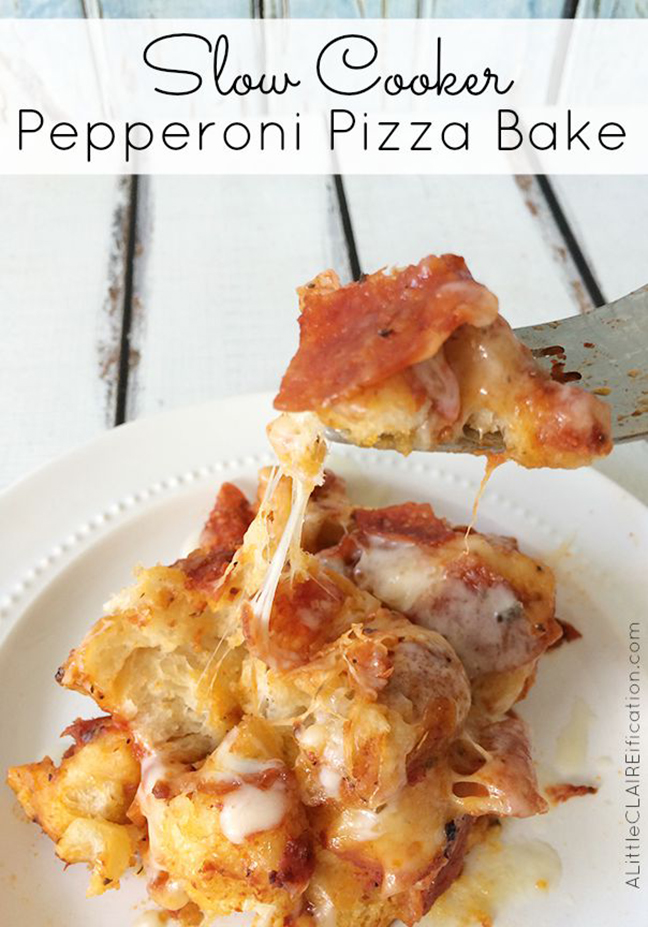 Easy Slow cooker Recipe: Pepperoni Pizza Bake