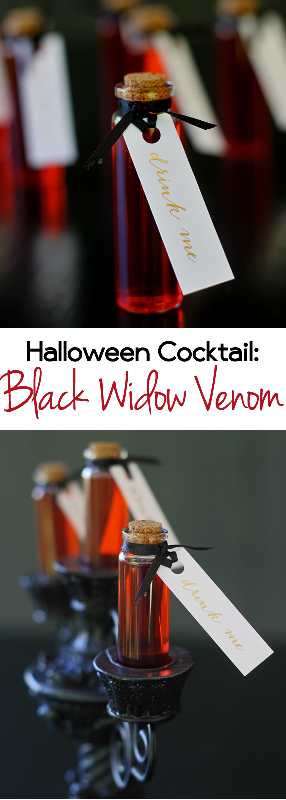halloween cocktail idea: black widow venom