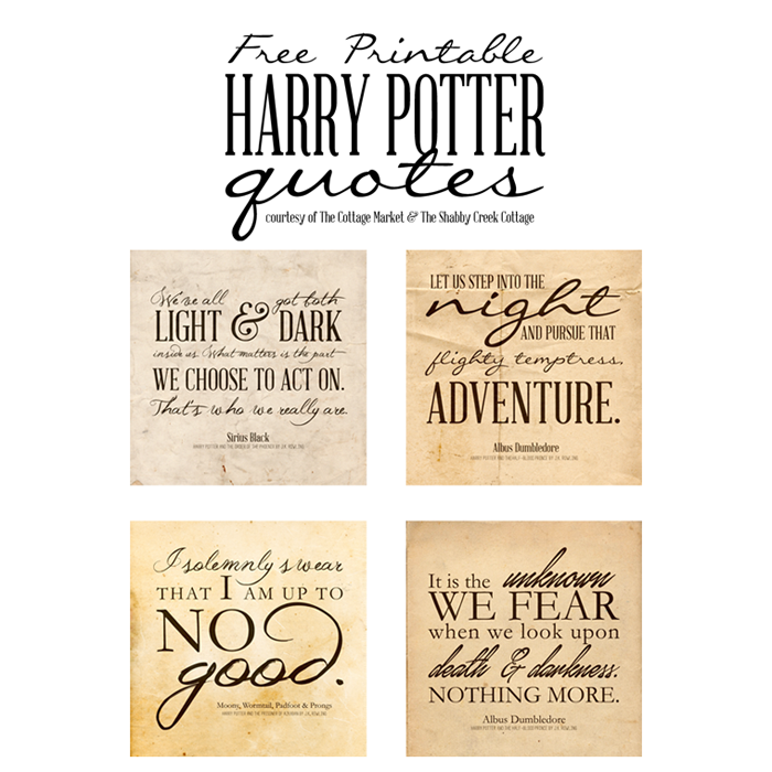 image about Free Quote Printable referred to as Cost-free Harry Potter Offers Printables