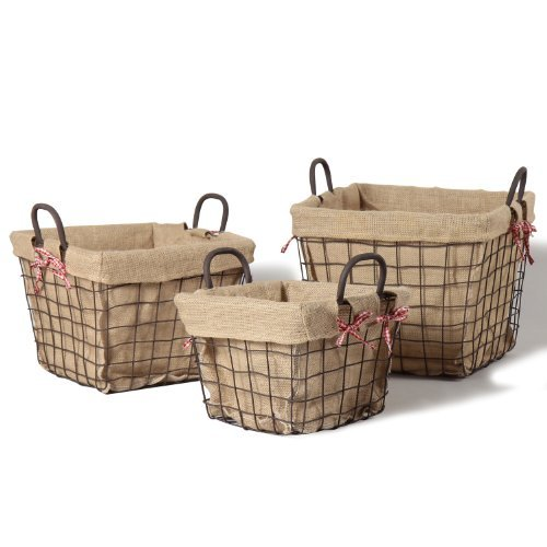 Iron Baskets With Burlap Lining U2013 I Have Several Of These In A Few  Different Sizes And Use Them For Everything From Holding Dog Toys To Hot  Chocolate.