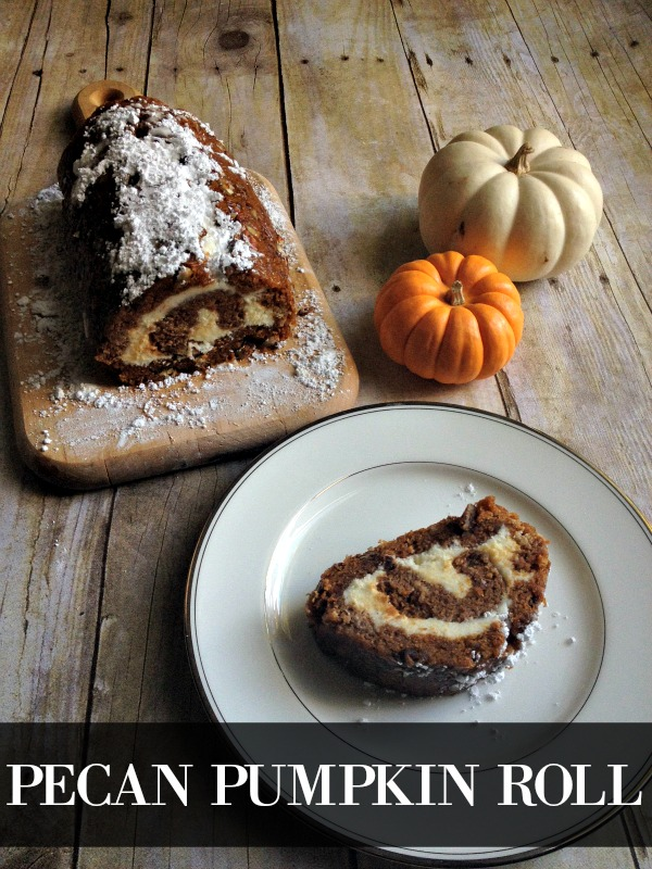 What a fun twist on a pumpkin roll. It looks delicious and I've gotta try it. Says it's easy - so I guess I'm adding Pecan Pumpkin Roll to my Thanksgiving menu.