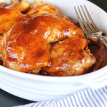 Bourbon BBQ Chicken recipe - a slow cooker recipe that is fall off the bone tender, easy, and finger licking delicious!