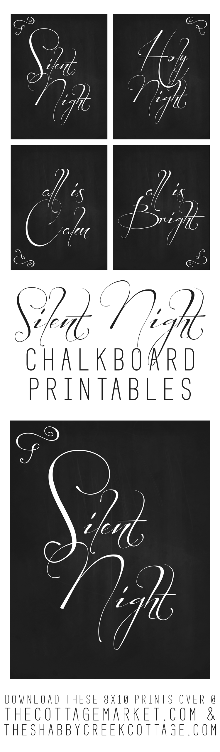 Christmas Printable: Silent Night (set of four)