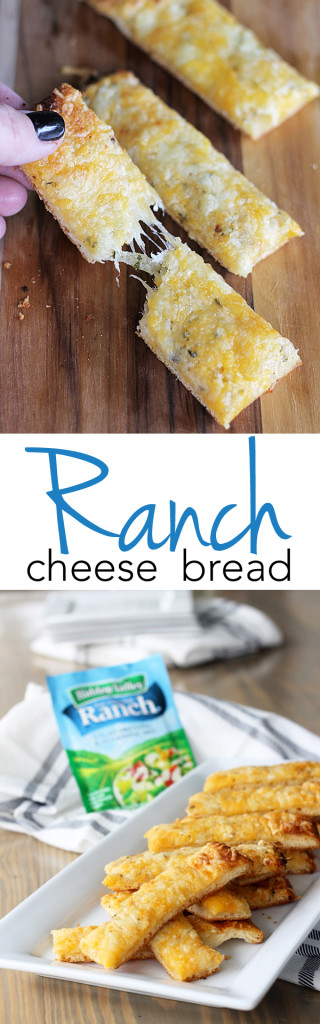 Hidden Valley Ranch Cheese Bread - a fun twist to boring cheese bread with the flavors of ranch inside. I'm making this for our next potluck!