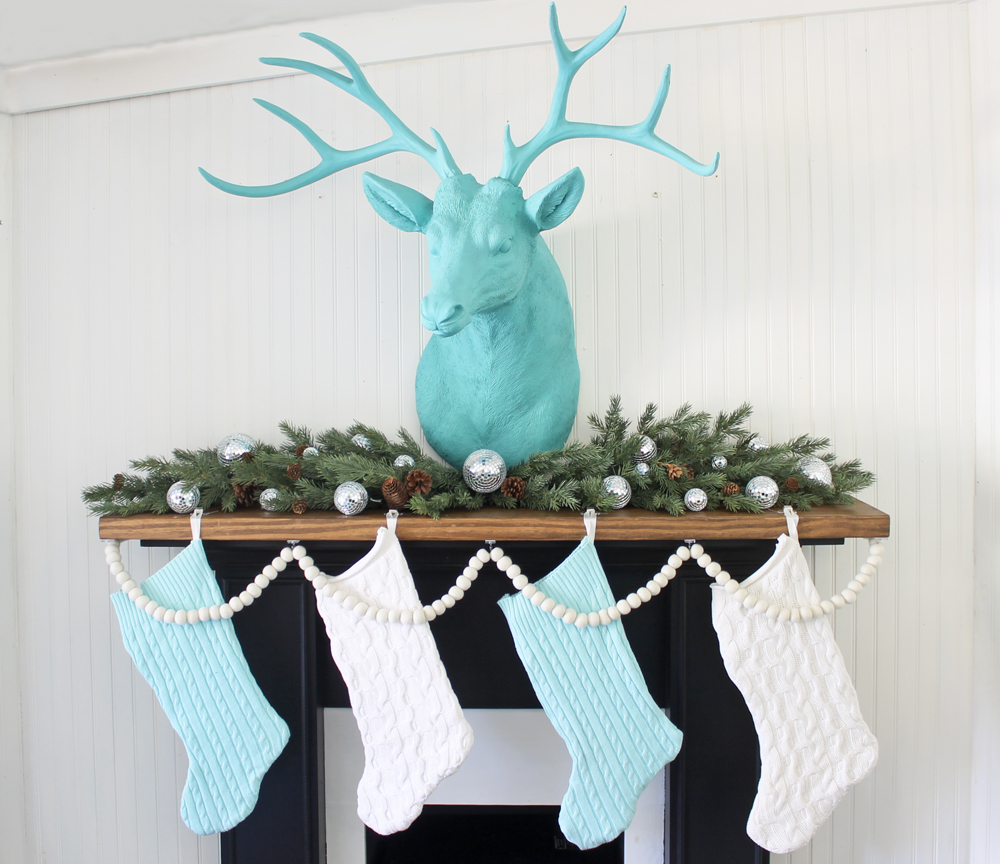 damage free trick for decorating a Christmas mantel