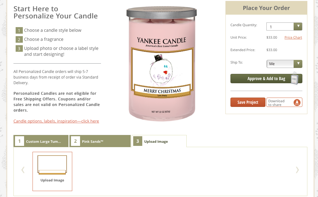 What a great gift idea! Create your own personalized Yankee Candles. Wonderful gift idea for grandparents!