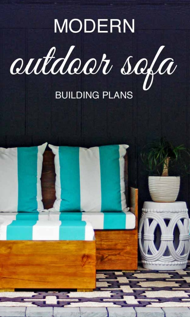 How to build a modern style outdoor sofa. Beautiful project! Doesn't even look like a DIY project.