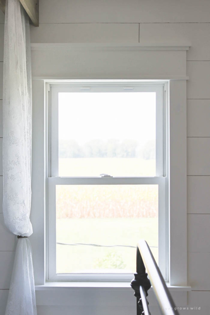 A little trim goes a long way into making windows more impressive in this farmhouse style window trim.