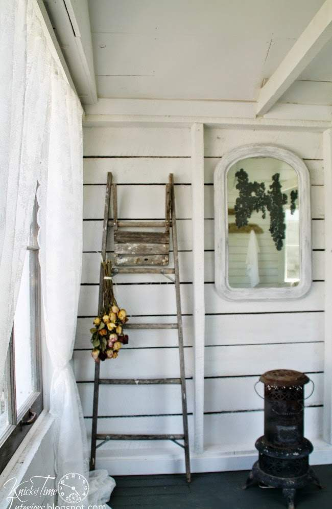 Reuse an old ladder for a display to add a little farmhouse style.