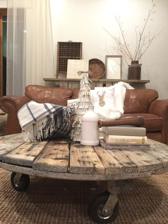 Love this farmhouse style coffee table made from a cable spool. & Farmhouse Style Decorating Inspiration to DIY