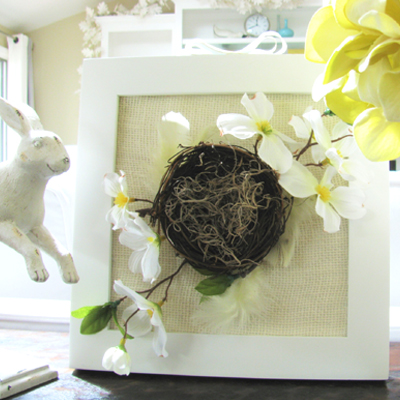 cute burlap frame close up
