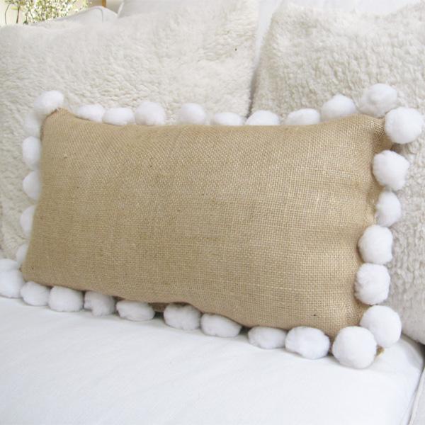 no sew burlap pillow close up