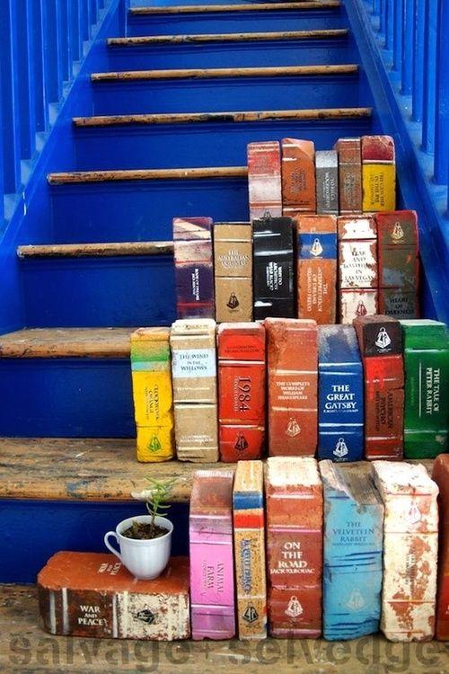 Unique Garden Ideas: Paint Bricks to look like books!