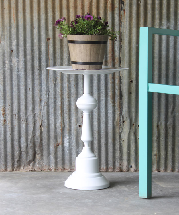 side table made from a lamp an easy upcycle idea. Black Bedroom Furniture Sets. Home Design Ideas