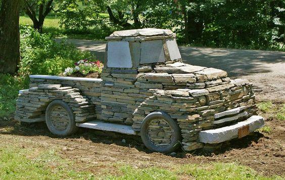 Amazing garden idea - a truck made from rocks!