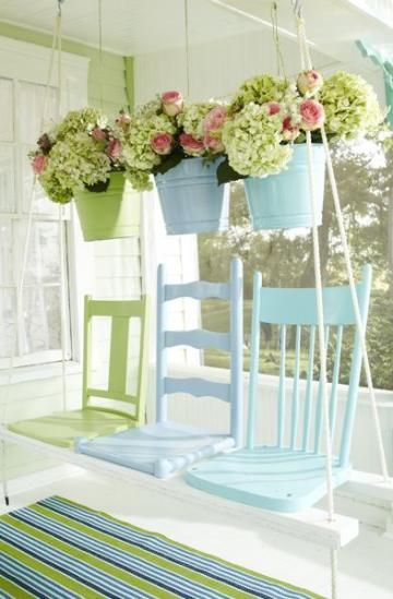 Wonderful ways to repurpose old chairs the shabby creek for Old porch swing