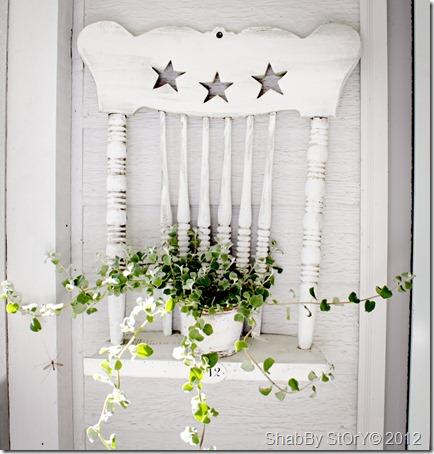 So many great ideas on ways to use old chairs - love this shelf idea!