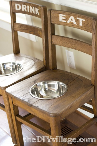 what a great idea for an old chair - dog bowl chairs (perfect for bigger dogs!)