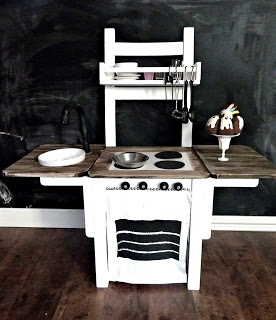 This is such a cute idea - a kid's play kitchen from an old chair!