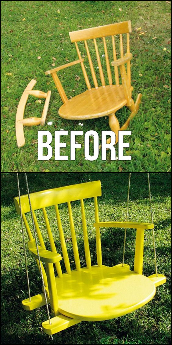 Wonderful ways to repurpose old chairs make a swing from a broken rocking chair & Wonderful Ways to Repurpose Old Chairs - The Shabby Creek Cottage