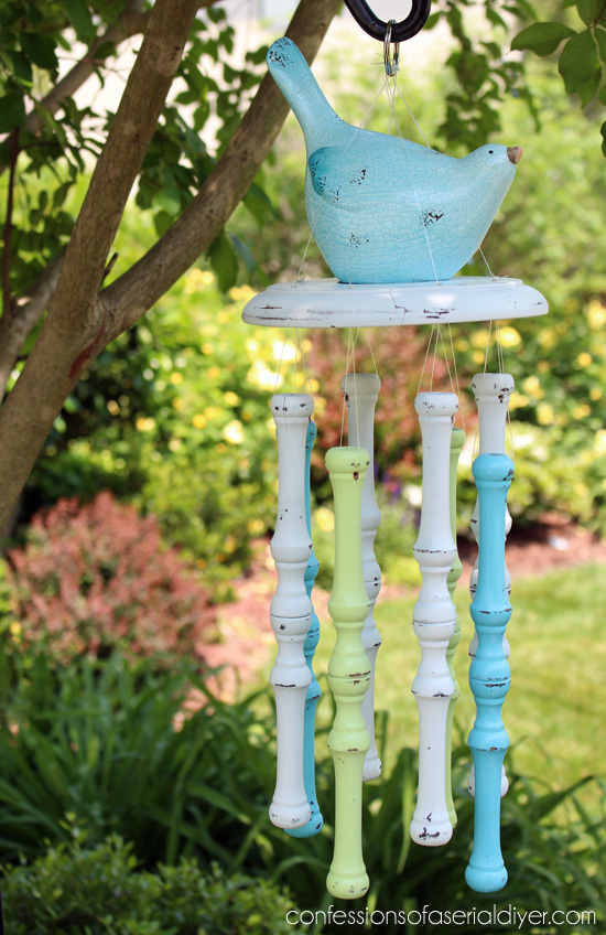 Windchimes made from a repurposed chair