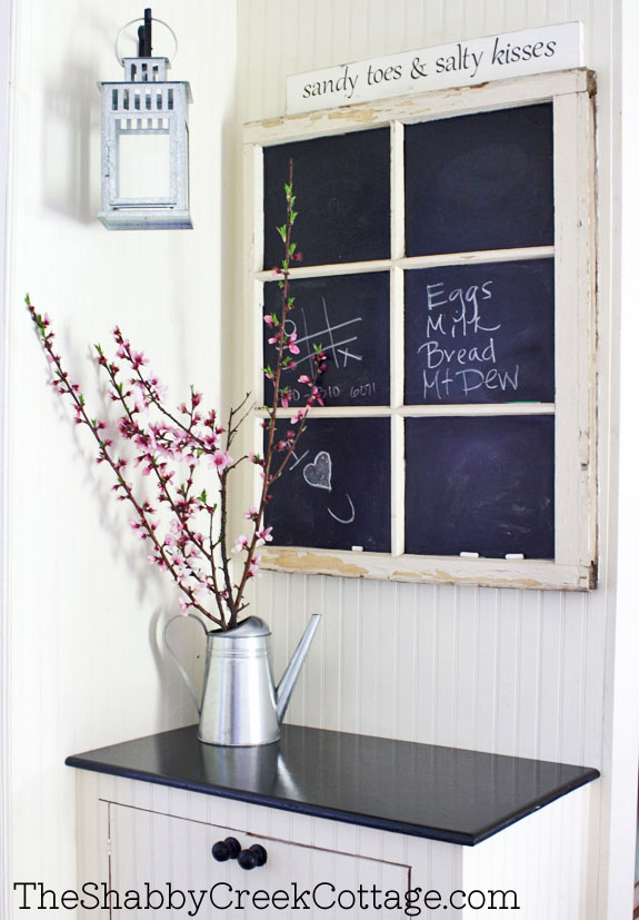 window chalkboard to add some farmhouse charm with architectural salvage pieces.