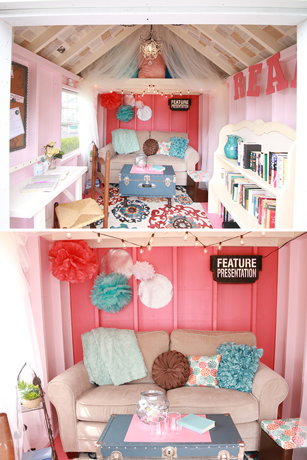 So many great she-sheds - this one is bright and fun!