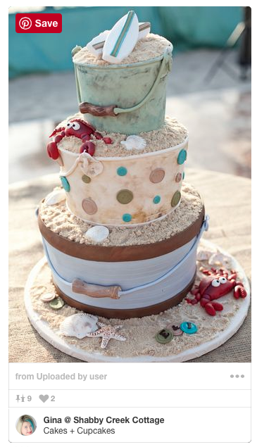 This beach inspired cake is GORGEOUS - it would be the perfect beach wedding cake!