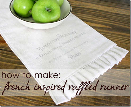 drop cloth project ideas: cute french inspired table runner. Tons of other great drop cloth project ideas, too!