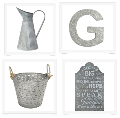 gorgeous galvanized decor - perfect for the farmhouse