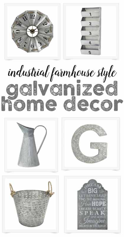 So many fun ideas for industrial farmhouse style galvanized decor - I definitely want to get that tiered stand!