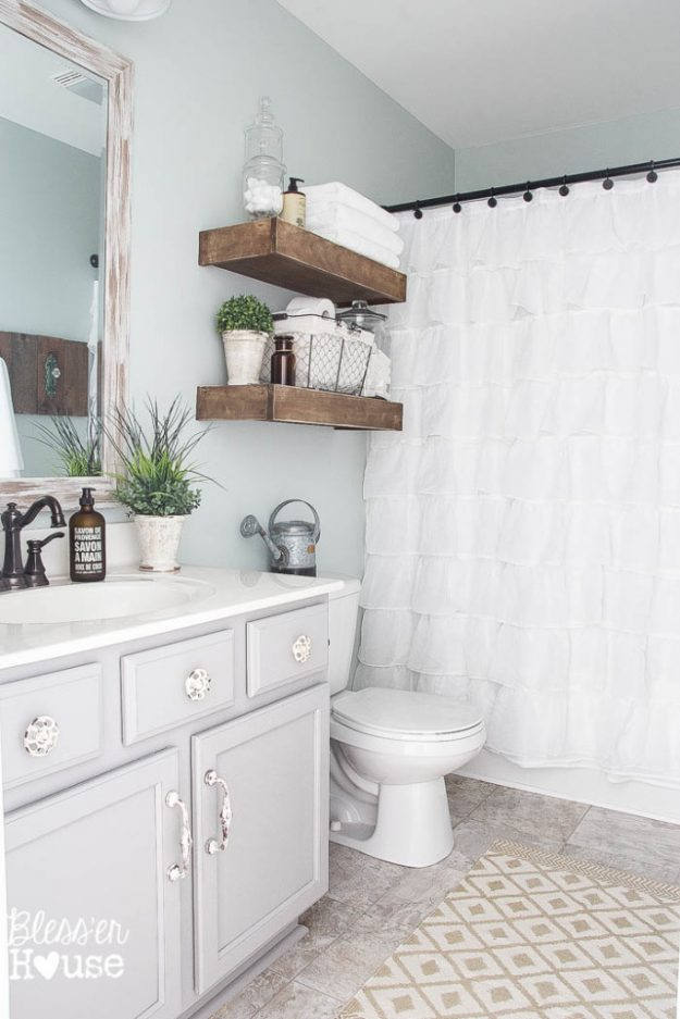 Lovely Pretty Farmhouse Bathroom Makeover   Love The Gray Walls!