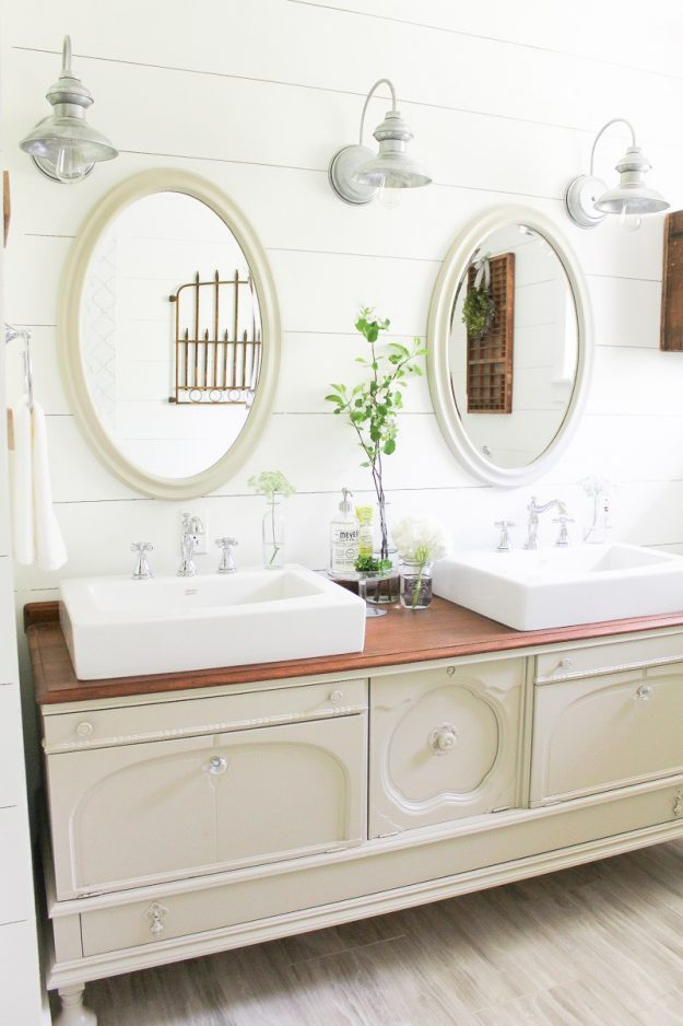 Gorgeous buffet looks even better in this farmhouse bathroom! Love all these bathroom update ideas!