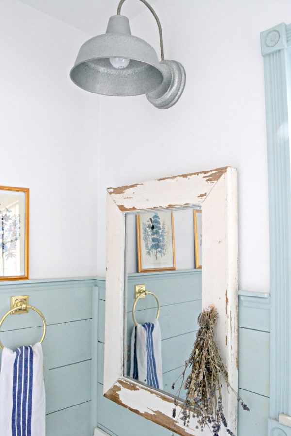 So many great farmhouse bathroom update ideas - love this mirror made from an old window!