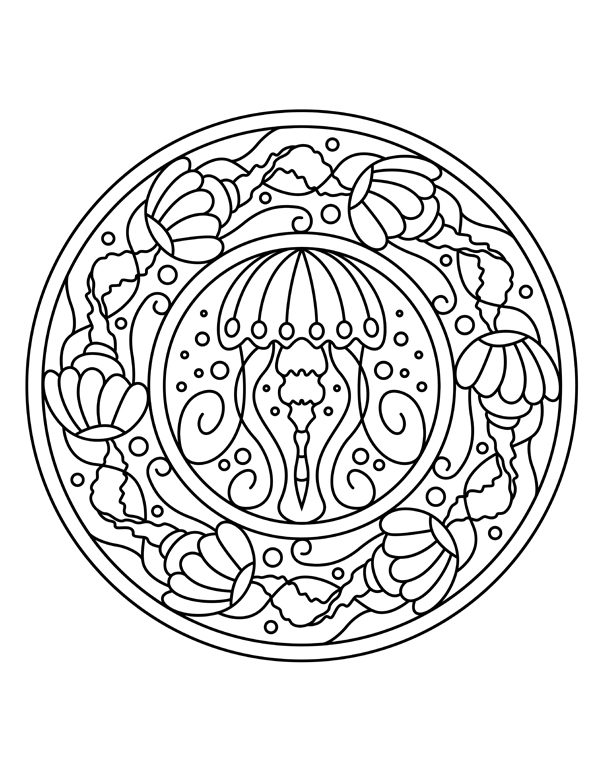 Adult Coloring Pages - set of free ocean inspired printables