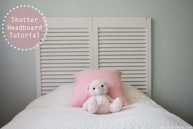 simple headboard made from old shutters