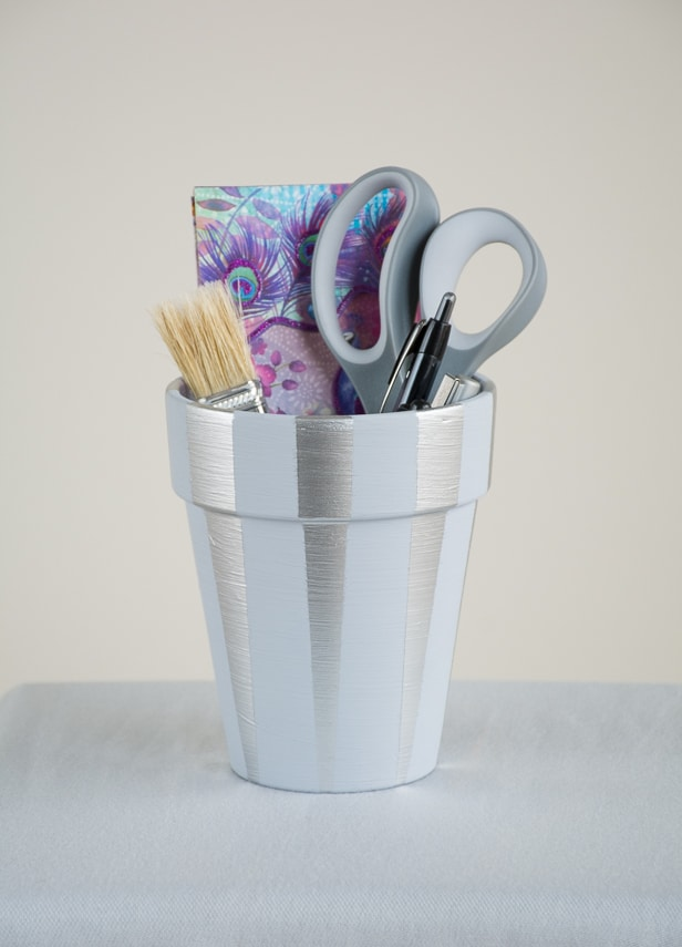 Painted Terra Cotta Pot Pencil Holder