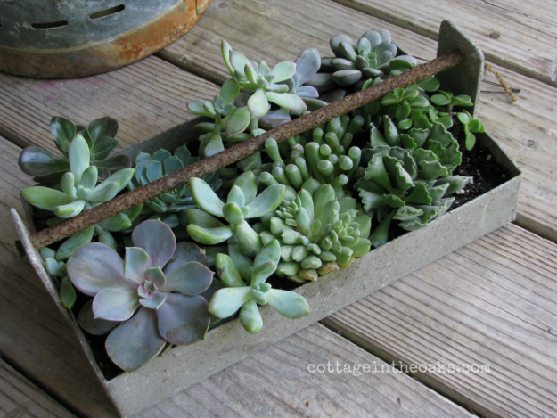 Pretty planter made from repurposed farm equipment. Tons of great ideas in this post!