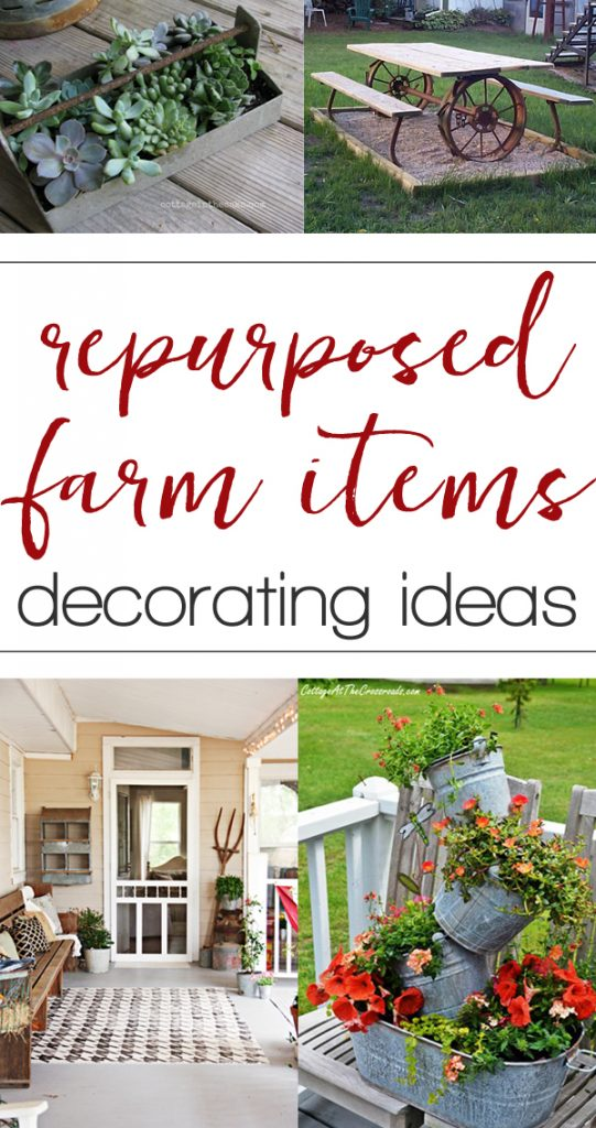 Fun ideas made from repurposed farm equipment. Tons of great ideas in this post!